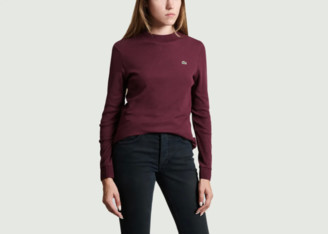Lacoste Bordeaux Cotton Knit Long Sleeve T Shirt - 34 | cotton | bordeaux - Bordeaux