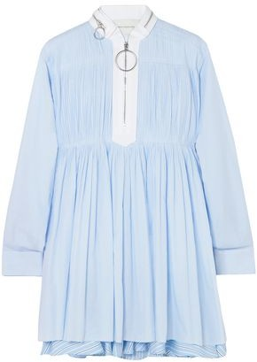 Cédric Charlier Pintucked Striped Cotton-blend Poplin Mini Dress