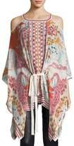 Roberto Cavalli Cold-Shoulder Floral-Print Tie-Waist Blouse