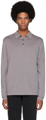 Sunspel Grey Sea Island Knit Polo