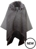 Very Multi Stripe Belted Cape With Faux Fur Collar