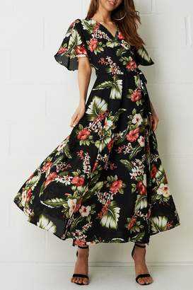 Frontrow Black Floral-Maxi Dress