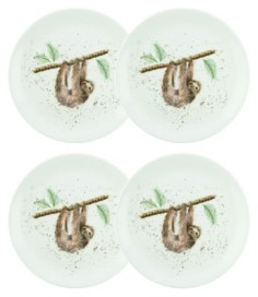 Royal Worcester Wrendale Hanging Around Sloth Plate Set/4