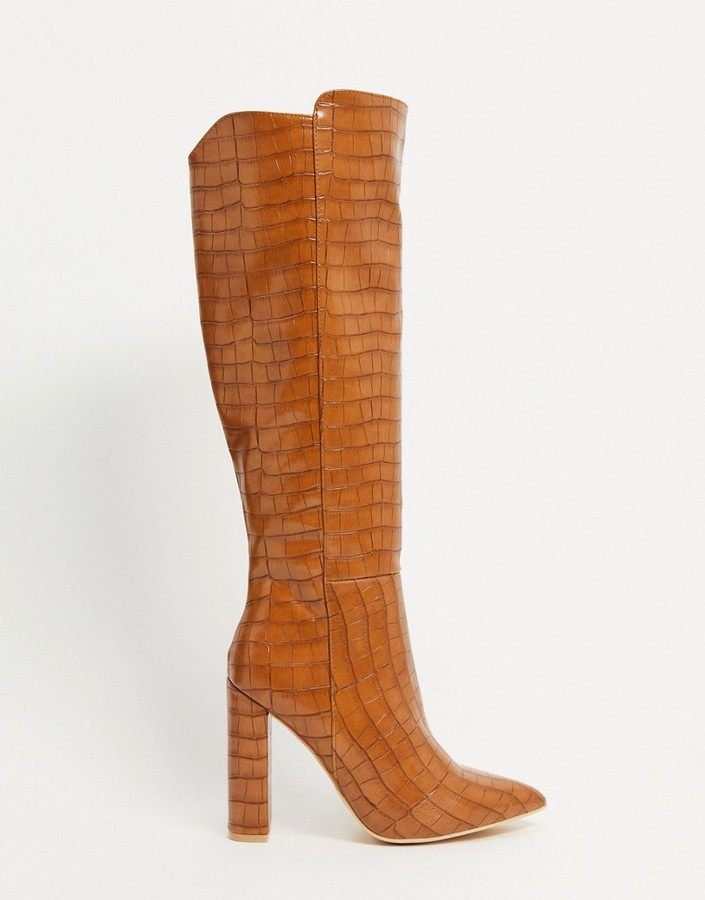 Glamorous over-the-knee boots in tan croc