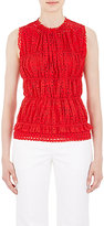 Nina Ricci WOMEN'S SMOCKED EYELET TOP-RED SIZE 38 FR