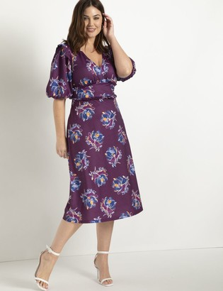ELOQUII Puff Sleeve Dress With Ruffle Details