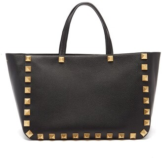 Valentino Roman Stud Grained-leather Tote Bag - Black