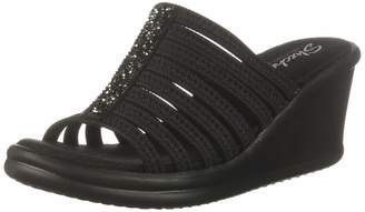 Skechers Women's Rumblers Galore-Rock Glitter Multi-Strap Slide Wedge Sandal Black 8.5 M US