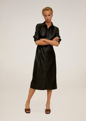 MANGO Faux-leather shirt dress