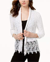 INC International Concepts I.N.C. Lace-Trim Open-Front Topper Cardigan, Created for Macy's