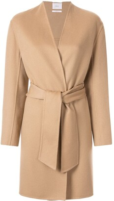 CASASOLA Collarless Belted Coat