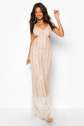 boohoo Occasion Hand Embellished Tassle Hem Maxi Dress