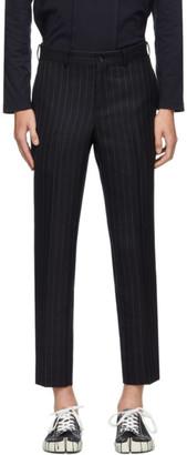 Comme des Garçons Homme Deux Navy Chalk Stripe Trousers