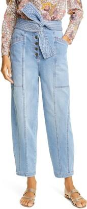Ulla Johnson Otto Tie Waist Stretch Cotton Jeans