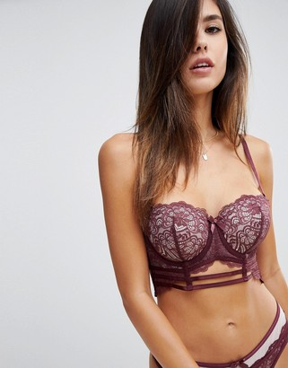 Hunkemoller Orion longline strapping padded balcony bra-Red