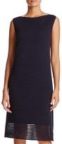 Lafayette 148 New York Sheer-Hem Textured Stripe Dress