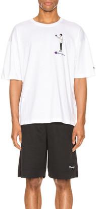 Champion Reverse Weave Omni Crew Short Sleeve Tee in White | FWRD