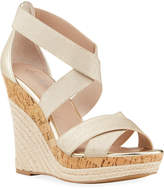 Charles by Charles David Azures Metallic Stretch Ankle Strap Wedge Espadrilles