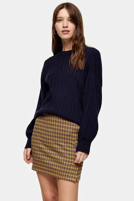 Topshop Womens Navy Knitted Jumper With Cashmere - Navy Blue