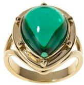 Green Stone Fashion Ring - 14k Gold Plated Brass - 8