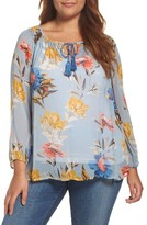 Lucky Brand Plus Size Women's Tucked Floral Print Peasant Top