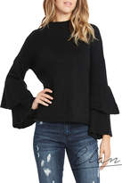 Elan International Hi-Neck Ruffle Sleeve Sweater