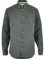 River Island MensKhaki green twill long sleeve shirt