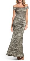 Alex Evenings Women's Off The Shoulder Crinkle Satin Trumpet Gown
