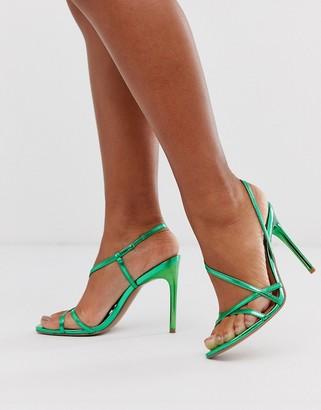 Asos Design DESIGN Notorious strappy heeled sandals in green metallic
