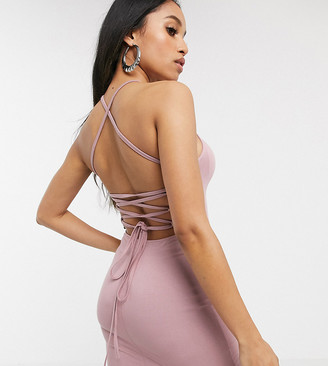 Asos DESIGN Petite going out strappy back mini dress-Beige