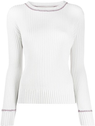 Marni Contrasting Stitching Ribbed Jumper