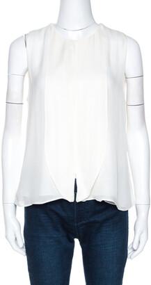 Emporio Armani Off White Silk Sleeveless Blouse M