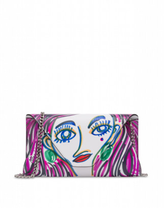 Moschino Face Print Clutch Woman Multicoloured Size U It - (one Size Us)