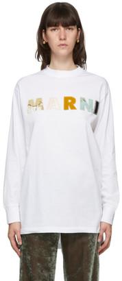Marni White Patchwork Logo Long Sleeve T-Shirt
