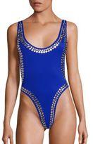 Norma Kamali Marissa One-Piece Studded Swimsuit