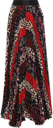 Alice + Olivia Katz Pleated Patchwork-effect Printed Crepe De Chine Maxi Skirt