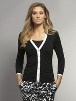 New York & Co. Tipped V-Neck Cardigan with Shirring