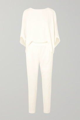 Halston Draped Crepe De Chine Jumpsuit - White