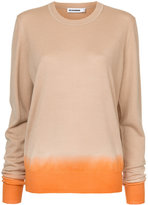Jil Sander two tone crew neck sweater