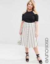Asos Button Through Midi Skirt In Stripe