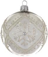 Christmas Shop 8CM BAUBLE GLASS SNOWFLAKE SILVER