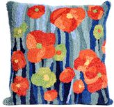 Liora Manné Frontporch Poppies Square Indoor/Outdoor Throw Pillow in Blue Denim