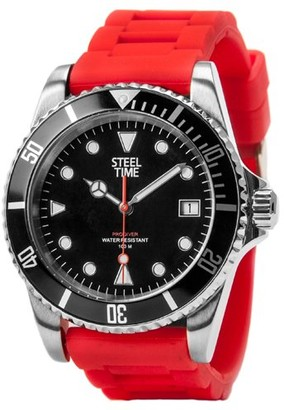 STEELTIME Steel Time sth011ProdiverWatch MenQuartzBlack DialAnalogue Red Rubber Bracelet