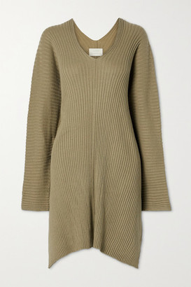 LAUREN MANOOGIAN Column Oversized Ribbed Pima Cotton And Silk-blend Sweater - Army green