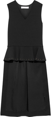 See by Chloe Asymmetric Studded Stretch-crepe Peplum Top