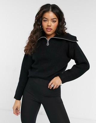 Pimkie half zip detail jumper in black