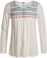 Poof Too Embroidered Peasant Shirt - Long Sleeve (For Big Girls)