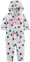 Carter's 1-Pc. Hooded Dot-Print Cute Cotton Jumpsuit, Baby Girls