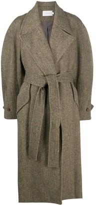 Low Classic Chevron Pattern Wool Midi Coat