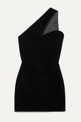 Saint Laurent One-shoulder Velvet Mini Dress - Black